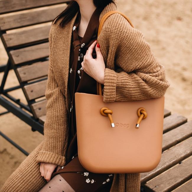 Жіноча сумка O bag mini | корпус бісквіт, підкладка наппа, довгі ручки вузол наппа