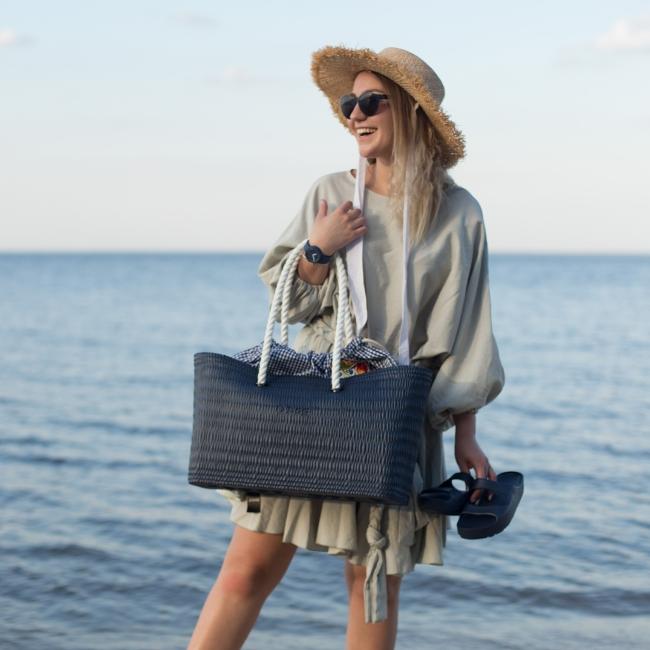"""Підкладка O bag beach з візерунком """"клітинка + квіти"""" Кобальт"""