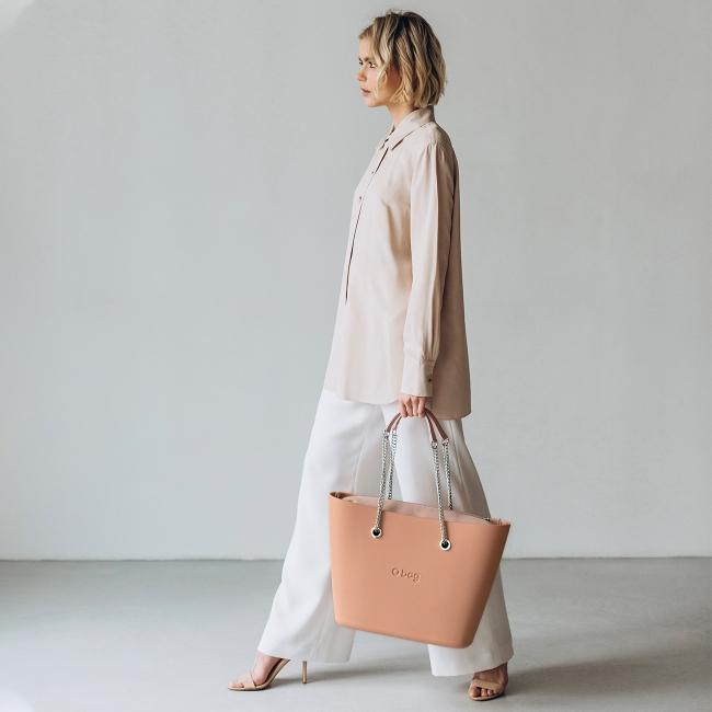 Жіноча сумка O bag urban | корпус персиковий мус, підкладка мікрофібра, довгі ручки-ланцюжки SNBAGS95