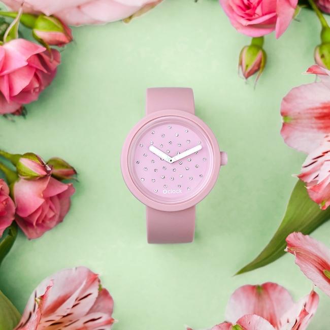 O clock | ремінець пудра, циферблат Crystal пудра