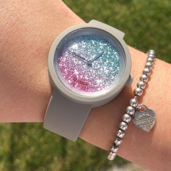 Циферблат O clock Glitter Bicolor Амарант / Петрол