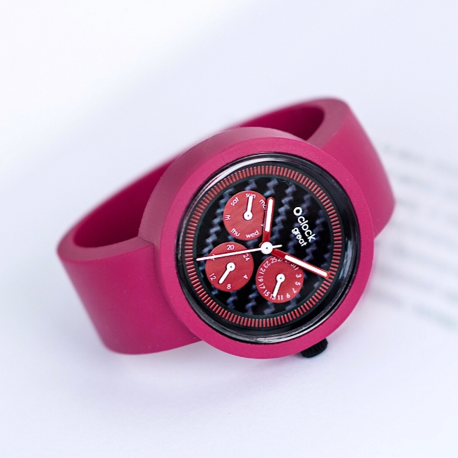 Циферблат O clock great Date Time Carbon Червоний